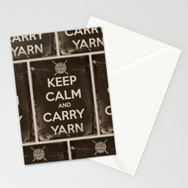 Keep Calm and Carry Yarn - Sepia Panel - Knitting Stationery Cards