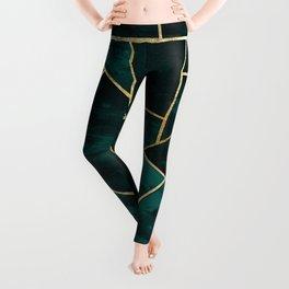 Dark Teal Ink Gold Geometric Glam #1 #geo #decor #art #society6 Leggings