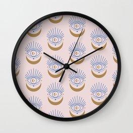 Eyes Moon Pattern Wall Clock