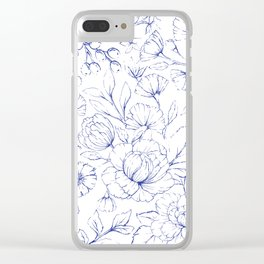 Modern hand drawn navy blue white elegant floral pattern Clear iPhone Case