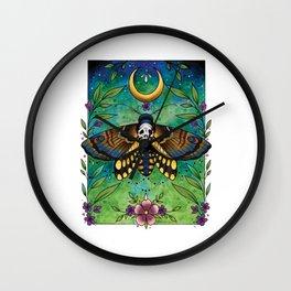 Neo Traditional Deaths-head moth Wall Clock