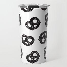 Postmodern Pretzels in Black + White Travel Mug