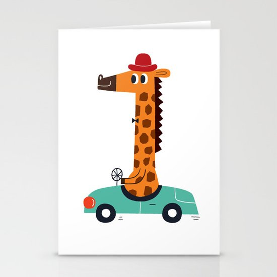 giraffe driver Stationery Cards