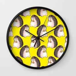 Hedgehog eating pizza Wall Clock