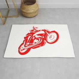 Motorcycle Speed Wheelie Orange Rug