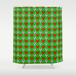Soccer Balls And Red Hearts Pattern Shower Curtain