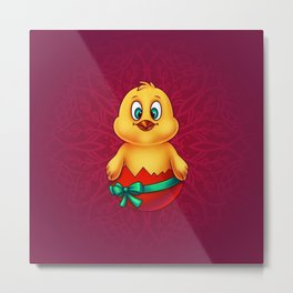 Easter Chicken in Egg Shell 2 - Digital Painting Metal Print
