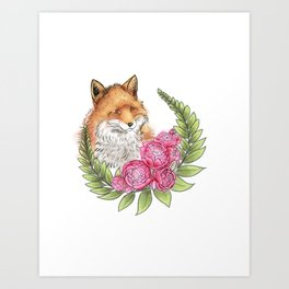 Fox in Bloom Art Print