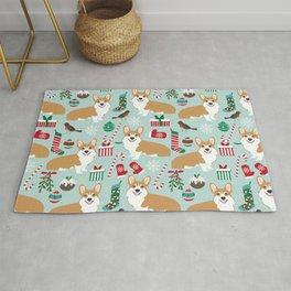 Welsh Corgi christmas holiday fabric festive pattern print by pet friendly dog breeds Rug