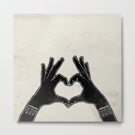 Hands sign heart black and white Metal Print