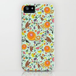 Cute Monkeys and Fruit iPhone Case