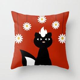 Skunk & Daisies Throw Pillow