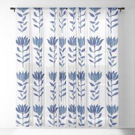 Indian Floral Motif - Indigo Sheer Curtain
