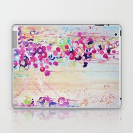 DANCE OF THE SAKURA - Lovely Floral Abstract Japanese Cherry Blossoms Painting, Feminine Peach Blue  Laptop & iPad Skin