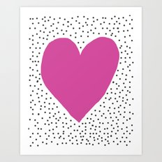 Pink heart with grey dots around Art Print