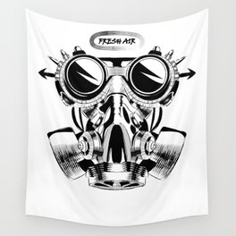 Steampunk vintage design vector drawing. gas mask punk respirator. Wall Tapestry