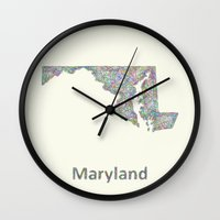maryland Wall Clocks featuring Maryland map by David Zydd