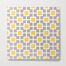Classic Hollywood Regency Pattern 221 Gray and Yellow Metal Print