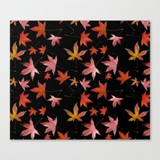 Dead Leaves over Black Canvas Print
