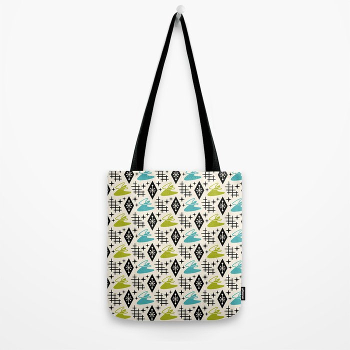 Mid Century Modern Boomerang Abstract Pattern Chartreuse and Turquoise 161 Tote Bag