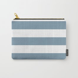 Weldon Blue - solid color - white stripes pattern Carry-All Pouch
