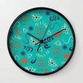 Dia De Los Turquoise Wall Clock