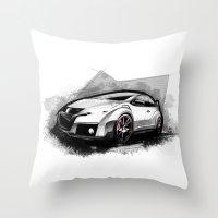 honda Throw Pillows featuring Honda Civic Type-R by an.artwrok