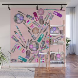 Girly Girl Hand Painted Watercolor Makeup on Pink Wall Mural