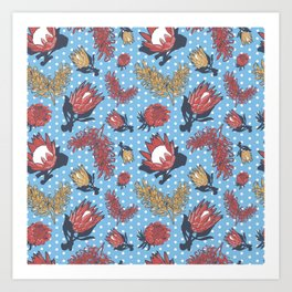Australian Native Flowers - Grevillea and Protea Art Print