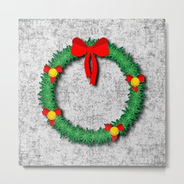 Christmas Wreath on textured background Metal Print