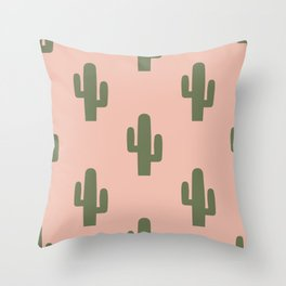 Cactus - Pink Sunset Desert Throw Pillow