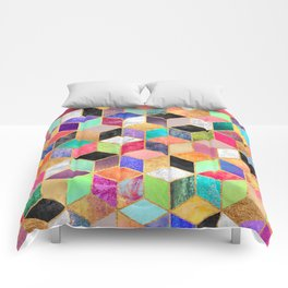 Colorful Cubes Comforters