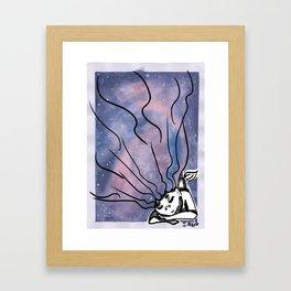 Sleeping Space Mermaid Framed Art Print