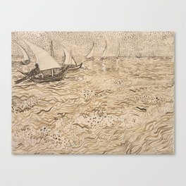 Boats at Saintes-Maries by Vincent van Gogh, 1888 Canvas Print