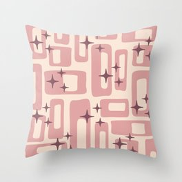 Retro Mid Century Modern Abstract Pattern 577 Dusty Rose Throw Pillow