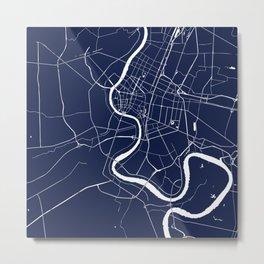 Bangkok Thailand Minimal Street Map - Navy Blue and White II Metal Print