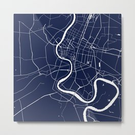 Bangkok Thailand Minimal Street Map - Navy Blue and White II Metal Print