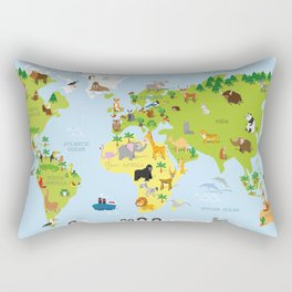 Funny cartoon world map with traditional animals of all the continents and oceans Rectangular Pillow
