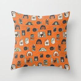 Halloween windows Throw Pillow