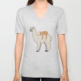 Cute & Funny Sleepy Sloth & Llama Unisex V-Neck
