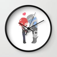 mass effect Wall Clocks featuring Mass Effect - Shakarian by Choco-Minto