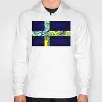 sweden Hoodies featuring circuit board Sweden (Flag) by seb mcnulty