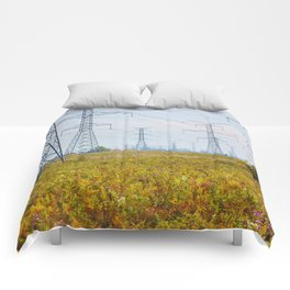 Landscape with power lines Comforters