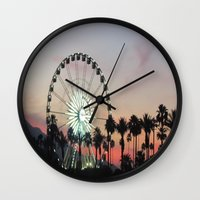 coachella Wall Clocks featuring Coachella by Lauren Haney