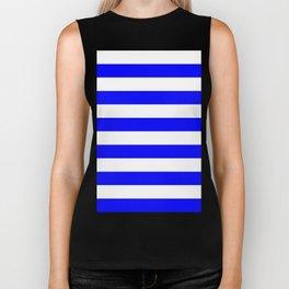 Horizontal Stripes - White and Blue Biker Tank