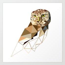 Geometric owl art Bird artwork Woodland birds Art Print