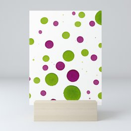 Merry Dots For Christmas With Random Green and Magenta Ink Polka Dots Mini Art Print