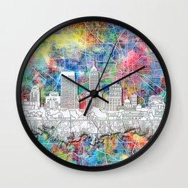 indianapolis city skyline watercolor Wall Clock