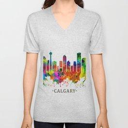 Calgary Canada Skyline Unisex V-Neck