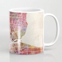 detroit Mugs featuring Detroit by MapMapMaps.Watercolors